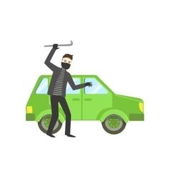 Criminal in black robbing the car vector