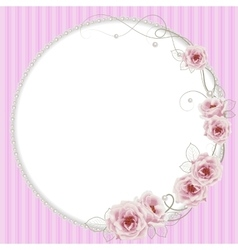 Delicate frame with roses and pearls vector image