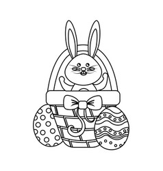 Figure rabbit easter inside of hamper and eggs vector