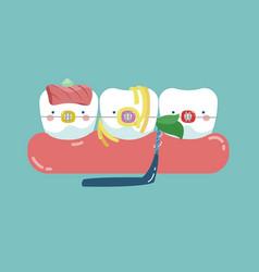 Food stuck teeth teeth and tooth concept of denta vector