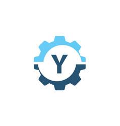 gear solution logo initial y vector image vector image