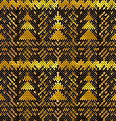 Golden seamless knitted pattern with christmas vector