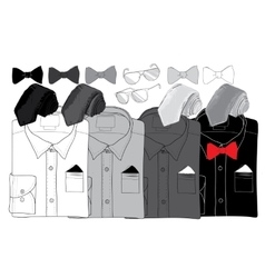 Hand drawn doodle coordination shirt tie vector