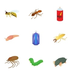 Insects icons set cartoon style vector