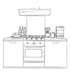 Kitchen cupboard shelves hand drawn vector