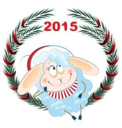 Lamb and Christmas wreath Symbol 2015 vector image vector image