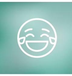 Laughing emoticon with tears of joy thin line icon vector