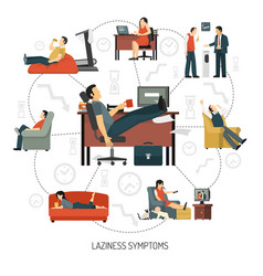 laziness symptoms infographics vector image