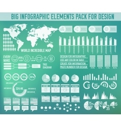 Modern big infographic elements chart set on vector image