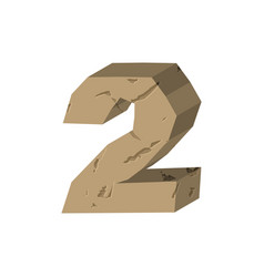 Number 2 stone rock font two stones alphabet vector