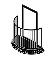 one door balcony icon simple style vector image