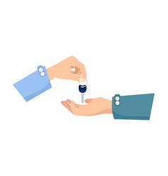 one hand giving key to another process of buying vector image vector image