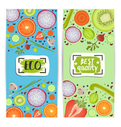 Organic food vertical flyers set vector