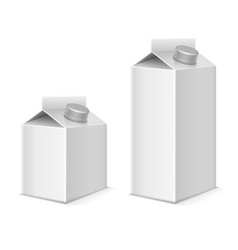 Paper milk and juice product tetra pack containers vector