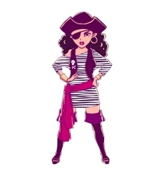 Pirate girl in striped vest boots and eye patch vector image