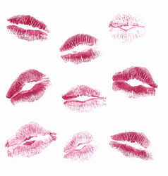 Real kiss lipstick of female isolated vector