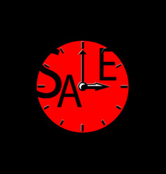 Sale inscription with red clocks sales event vector