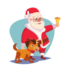 Santa claus and happy dog ringing gold vector