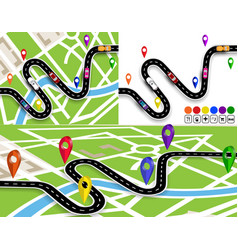 set of winding roads with signs on the map of the vector image vector image