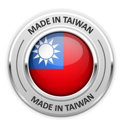 Silver medal Made in Taiwan with flag vector image vector image