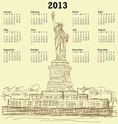 statue of liberty vintage 2013 calendar vector image vector image