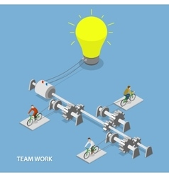 Team work flat isometric concept vector image