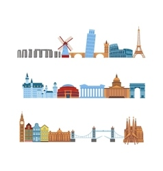 Travel places set vector image