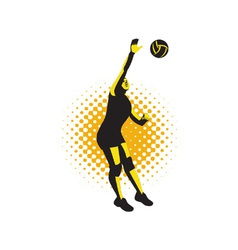 Volleyball Player Spiking Ball Retro vector image