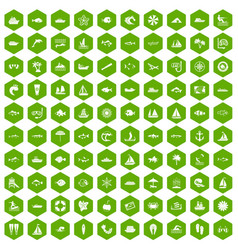 100 sea icons hexagon green vector