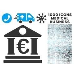 Euro bank building icon with 1000 medical business vector