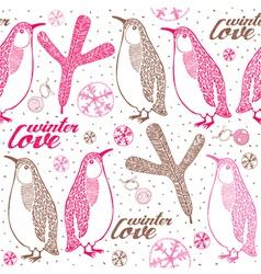 Doodle penguins winter pattern vector image