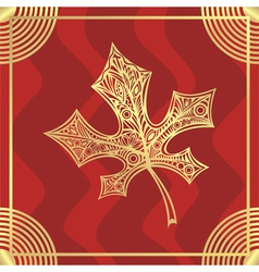 Leaf pattern gold vector image