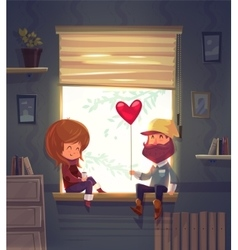 Two lovers sitting on the windowsill in an vector