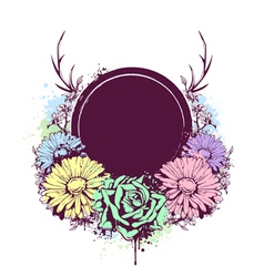 Grunge Flowers Banner 1 vector image