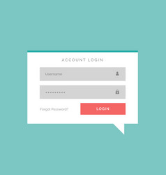 Account login box in flat chat bubble style vector