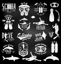 Set of scuba diving club and diving school design vector