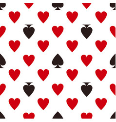 Card suit pattern hearts and spades seamless vector