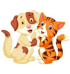 Cute cat and dog cartoon vector image