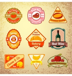 Collection of food stamps or labels vector