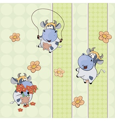 background with cows vector image