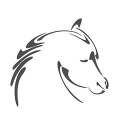 Horse head in calligraphy style vector