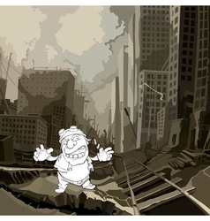 Cartoon sketch of a crazy man in a ruined city vector