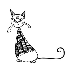 Black cat zentangle style for your design vector