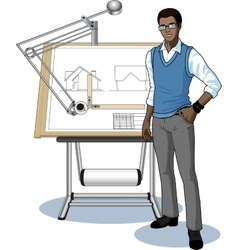 Young african architect student presenting his vector