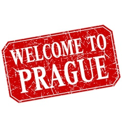 Welcome to prague red square grunge stamp vector