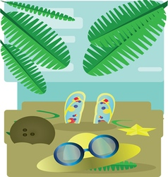 Abstract design with palm leaves sand slippers hat vector image vector image