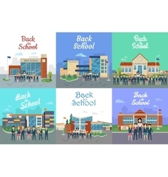 Back to School Icons with Different Building Type vector image