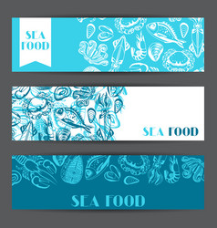 banners with various seafood of fish vector image vector image