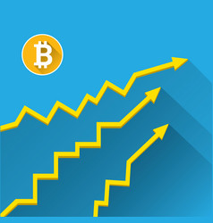 Bitcoin growth graph on blue background vector