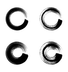 Black circle brush strokes vector image